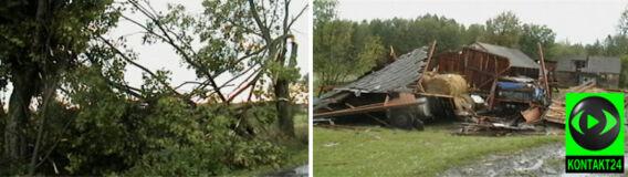 Zniszczone budynki, pozrywane dachy, połamane drzewa