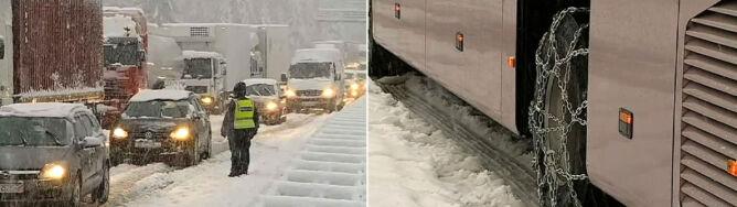 Gruby śnieg w Chorwacji. Drogi stoją