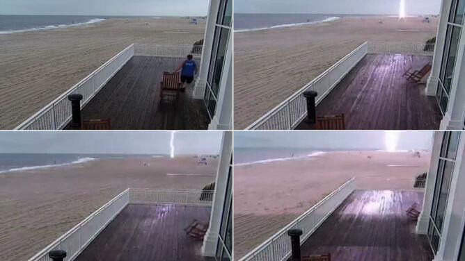 Pusta plaża, nagle błysk. <br />Piorun uderzył w wieżę ratowników