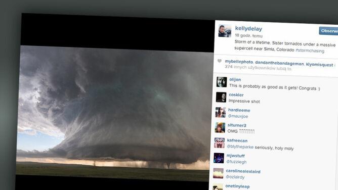 Dwa siostrzane tornada na zdjęciu łowcy burz
