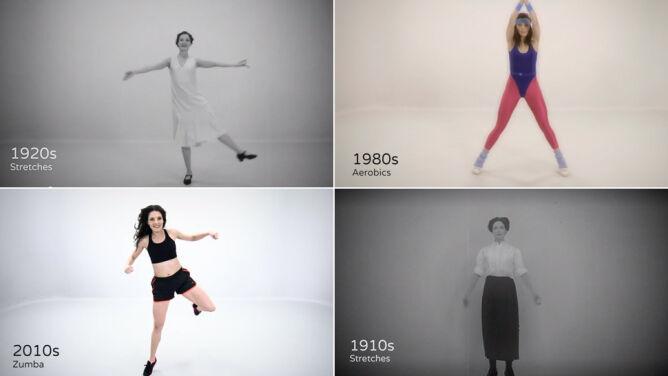 100 lat fitnessu w niespełna 2 minuty