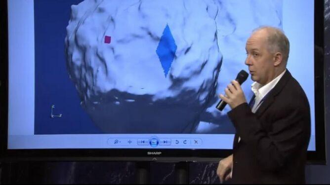 Na czerwono zaznaczono punkt, w którym Philae wylądował. Na niebiesko obszar, na którym się znajduje