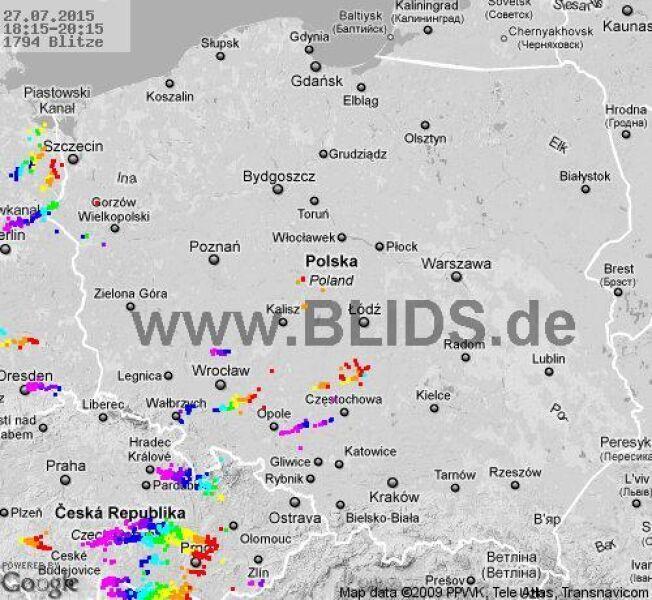 Wyładowania atmosferyczne na terenie Polski w godz. 18.15 - 20.15 (blids.de)