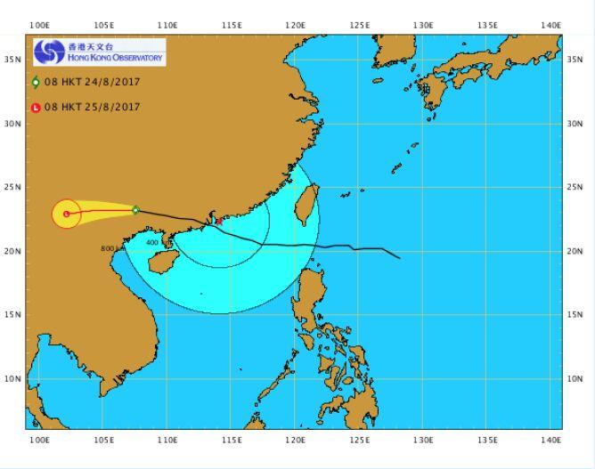 Zasięg tajfunu Hato