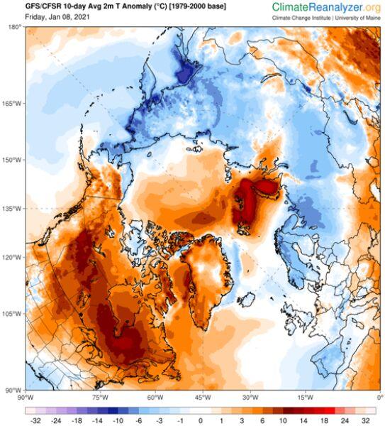 """Prognoza odchylenia """"na minus"""" temperatury średniej od normy na najbliższe 10 dni (ClimateReanalyzer.org)"""